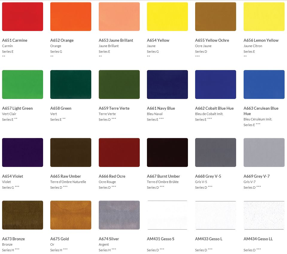 Holbein Coloured Gesso Colour Chart
